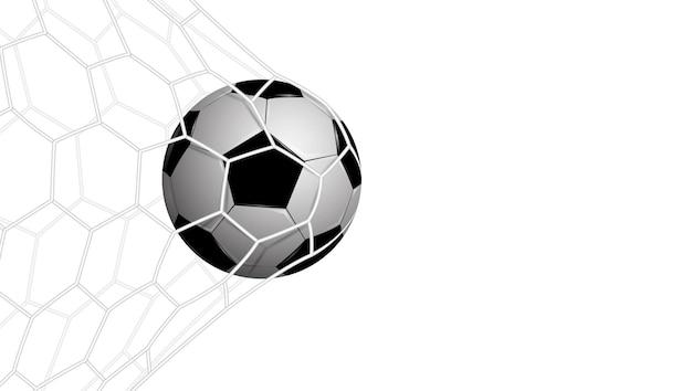Calcio realistico in rete isolato su sfondo bianco, illustrazione vettoriale