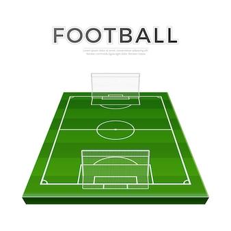 Parco giochi di calcio realistico con cancelli. vettore campo di calcio in erba campionato di calcio