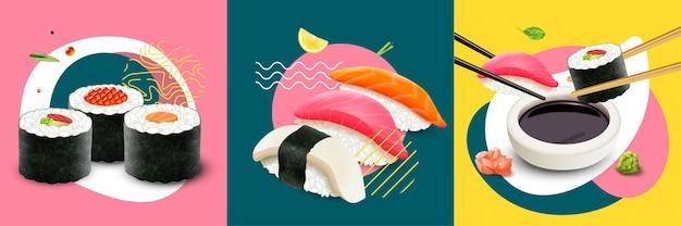 Illustrazione isolata dell'insieme di concetto di progetto fresco realistico dei sushi