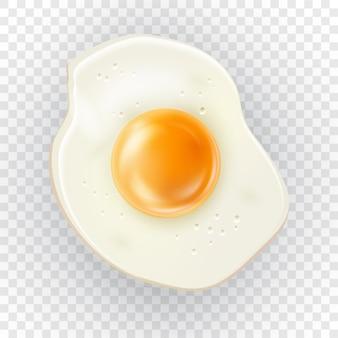 Vettore di uovo fritto realistico vista dall'alto dettagliata dell'uovo di gallina 3d frittata cotta per colazione