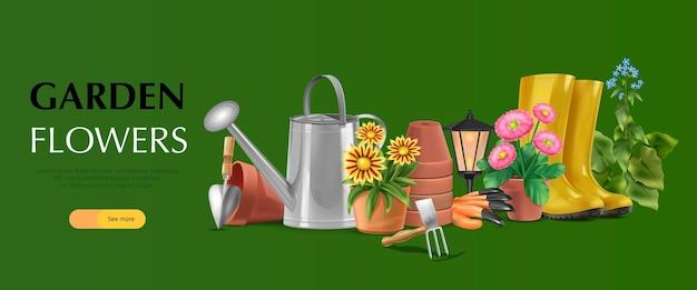 Pagina di destinazione banner orizzontale giardino realistico