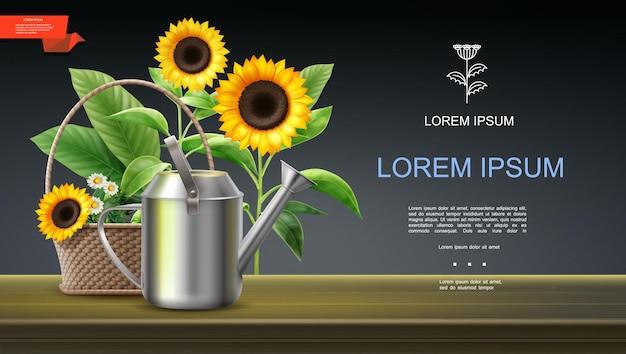 Modello colorato di giardinaggio realistico con annaffiatoio e cesto di girasoli e camomille illustrazione