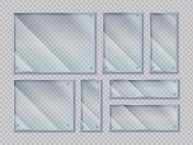 Striscioni di vetro realistici con viti. forme di banner di vetro con riflessi abbaglianti lucidi