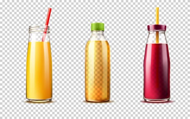Bottiglia di vetro realistico con succo d'arancia uva e set di limonata contenitori per bevande fresche di vettore Vettore Premium
