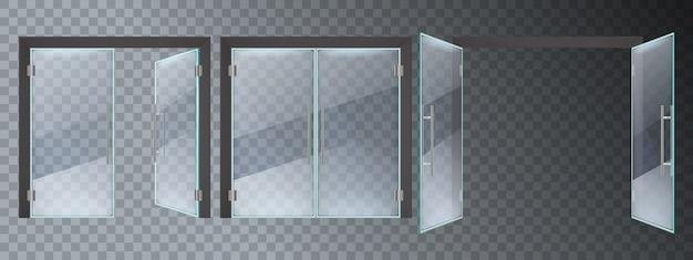 Porta in vetro realistica. porte di vetro moderne dell'ingresso, insieme dell'illustrazione delle porte aperte e chiuse del telaio d'acciaio del centro commerciale dell'ufficio o del negozio. porta d'ingresso in vetro, entrata trasparente vuota