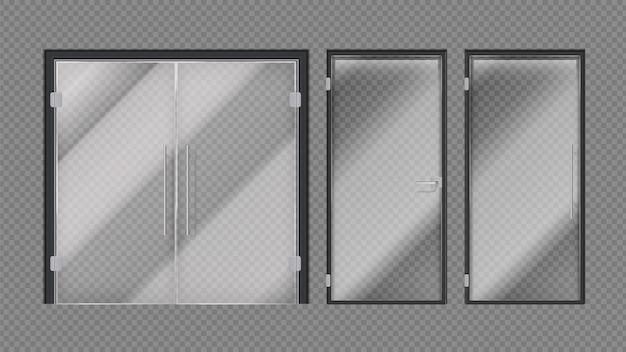 Porte in vetro realistiche. ingresso di un centro commerciale, negozi o uffici. elementi moderni interni esterni con illustrazione di maniglie delle porte in metallo. porta esterna in vetro d'ingresso, ufficio e negozio