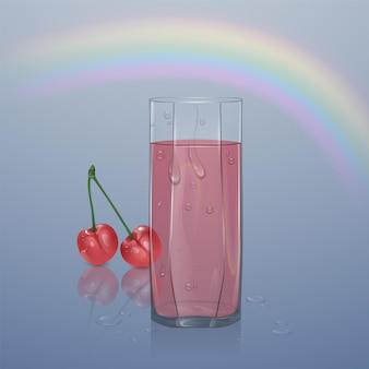 Vetro realistico riempito con succo su sfondo chiaro, vetro trasparente con succo con goccioline d'acqua,