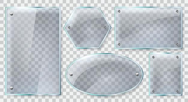 Cornici di vetro realistiche. lastra di vetro riflettente, vetro trasparente o banner in plastica, set di illustrazione in vetro riflettente. materiale del banner con cornice in vetro, placca realistica