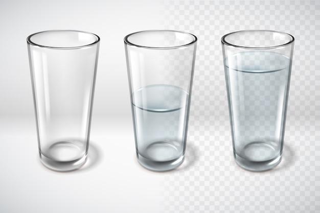 Poster orizzontale di bicchieri di vetro realistico
