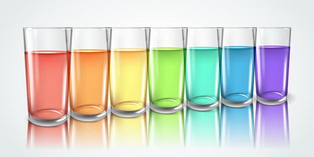 Illustrazione orizzontale di acqua arcobaleno di bicchieri di vetro realistico