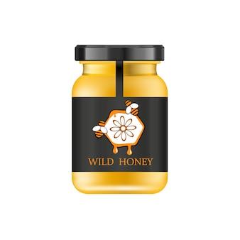 Vaso di vetro realistico con miele. banca del cibo.