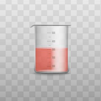 Realistico misurino in vetro con liquido chimico rosso all'interno - contenitore in plastica trasparente per la misurazione del volume su sfondo trasparente, illustrazione