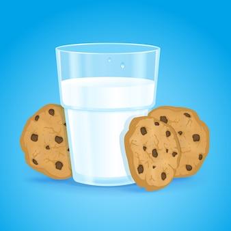 Vetro realistico con latte e biscotti con gocce di cioccolato su sfondo blu.