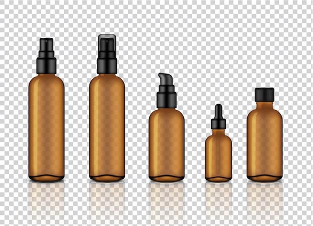 Contagocce cosmetico di vetro trasparente ambrato realistico lucido