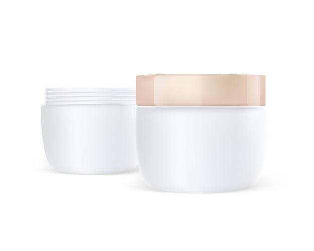 Illustrazione realistica del barattolo di crema per la cura lucida
