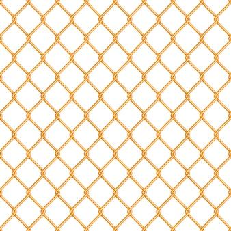 Modello senza cuciture del recinto lucido realistico del collegamento a catena dell'oro su bianco