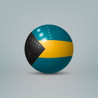 Sfera di plastica lucida realistica con bandiera delle bahamas