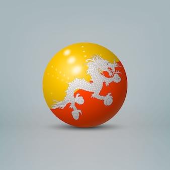 Sfera di plastica lucida realistica con la bandiera del bhutan