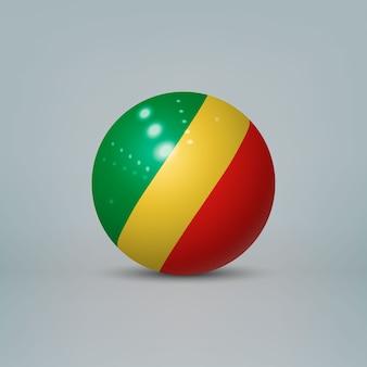 Sfera di plastica lucida realistica con la bandiera del congo