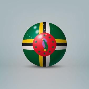 Sfera di plastica lucida realistica con la bandiera della dominica