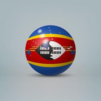 Sfera di plastica lucida realistica con bandiera di eswatini