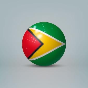 Palla di plastica lucida realistica con bandiera della guyana