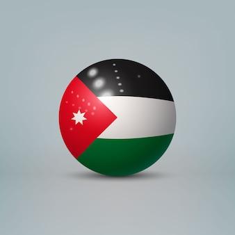 Palla di plastica lucida realistica con bandiera della giordania
