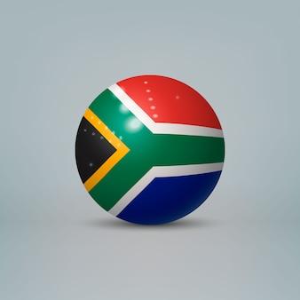 Sfera di plastica lucida realistica con la bandiera del sud africa