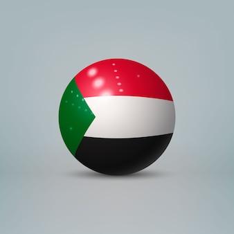 Sfera di plastica lucida realistica con la bandiera del sudan