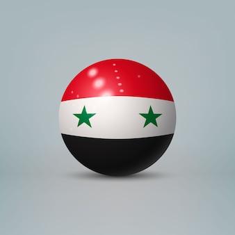 Sfera di plastica lucida realistica con la bandiera della siria