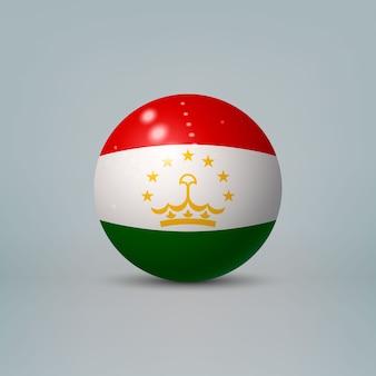 Sfera di plastica lucida realistica con la bandiera del tagikistan