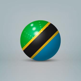 Sfera di plastica lucida realistica con la bandiera della tanzania