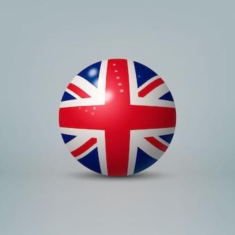 Sfera di plastica lucida realistica con la bandiera del regno unito
