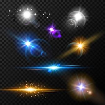 Set di effetti di luce bagliore realistico Vettore Premium