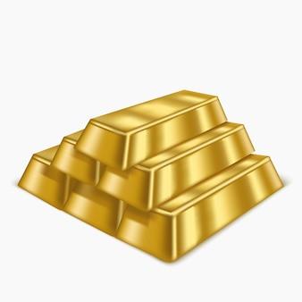 Illustrazione realistica di lingotti d'oro o tesoro di lingotti