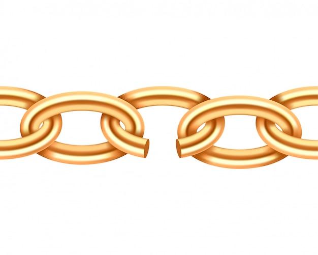 Trama di catena spezzata oro realistico. collegamento a catena giallo di demage di colore isolato su fondo bianco. elemento di design tridimensionale.