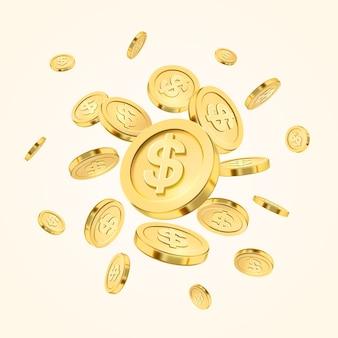 Realistica esplosione di monete d'oro o splash su sfondo bianco.