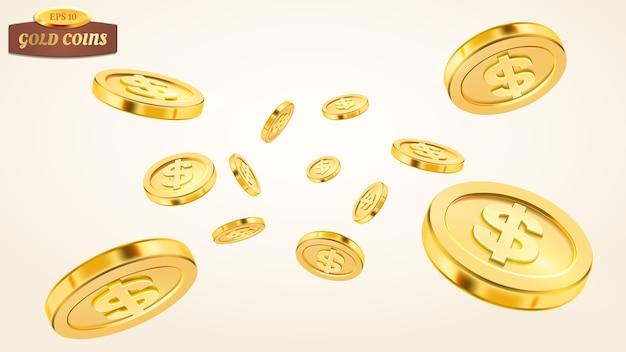 Realistica esplosione di monete d'oro o splash su sfondo bianco