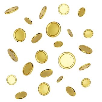 Moneta d'oro realistica su sfondo bianco. jackpot o elemento di vincita del poker del casinò. tesoro in contanti concetto. soldi che cadono o volano. vettore