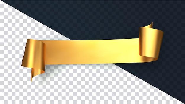 Nastro curvo oro realistico isolato su sfondo trasparente
