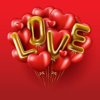 Realistico oro gocciolante parola amore, palloncini rossi