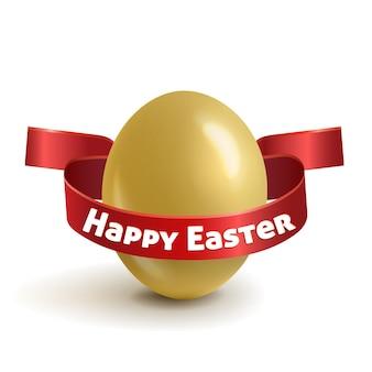 Realistiche, uova di pasqua d'oro con un nastro rosso.