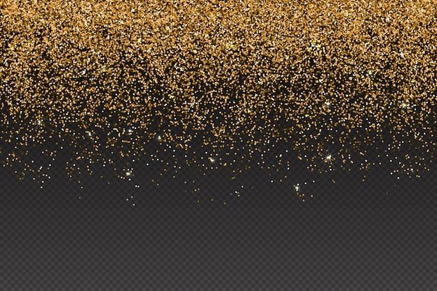 Realistico effetto particelle glitter oro - coriandoli lucidi isolati e texture scintillante glitterata. la polvere di stelle scintilla nell'esplosione