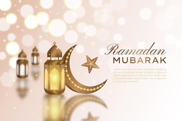 Lanterna d'oro realistica e falce di luna con sfondo di riflessione islamica ramadan mubarak