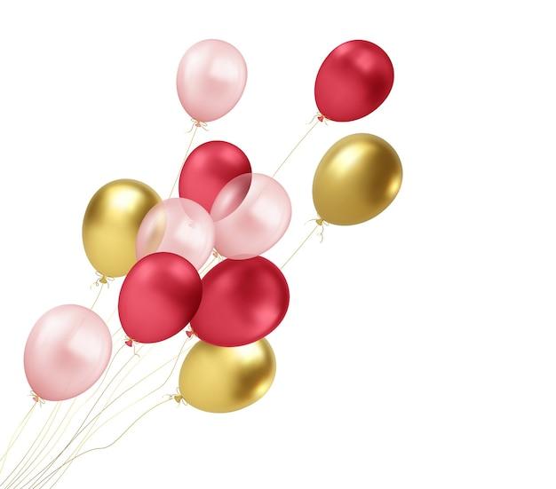 Palloncini oro, rossi, rosa realistici che volano isolati su priorità bassa bianca. elemento di design per il saluto