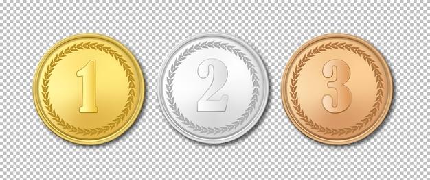 Insieme realistico dell'icona delle medaglie del premio dell'oro, dell'argento e del bronzo isolato su fondo trasparente.