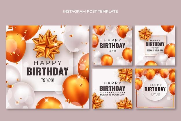 Post di instagram di compleanno di palloncini dorati realistici