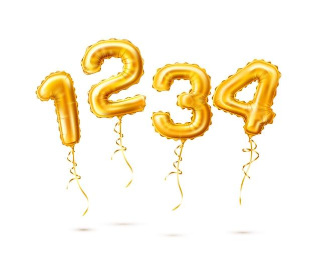 Illustrazione di numeri di palloncini dorati realistici