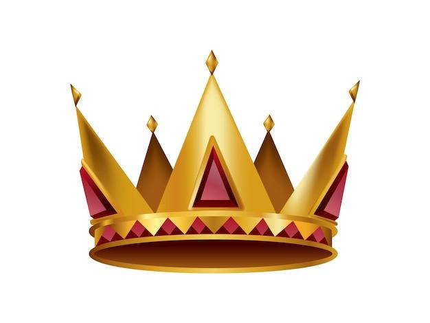 Corona d'oro realistica. copricapo di incoronazione per re o regina. simbolo monarchia reale nobile aristocratico