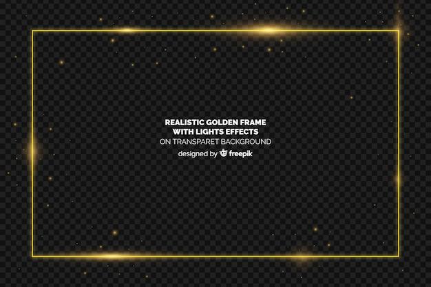Cornice dorata realistica su sfondo trasparente